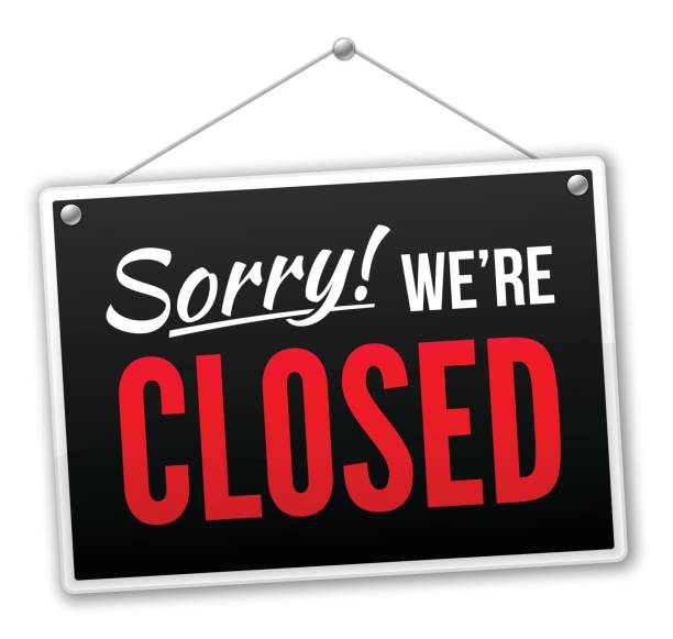 Sorry we're closed black sign isolated on white.